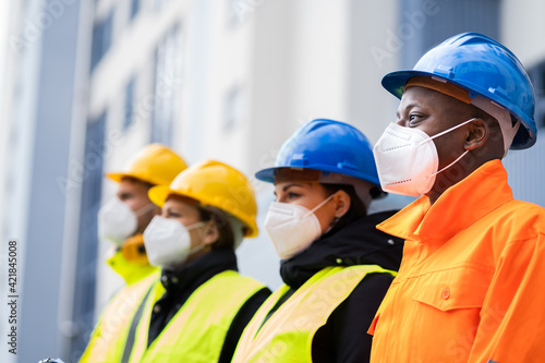 Obraz Factory Engineers Or Construction Workers - fototapety do salonu
