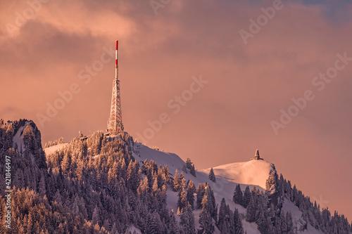 Photo Allgäu - Grünten - Sonnenuntergang - Winter - Stimmung - besonders - Alpenglühen