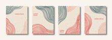 Set Creative Minimalist Hand Painted Abstract Line Arts Background