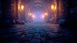 Leinwandbild Motiv Scary endless medieval catacombs with torches. Mystical nightmare concept. 3D Rendering.