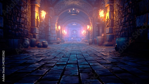 Canvas Print Scary endless medieval catacombs with torches