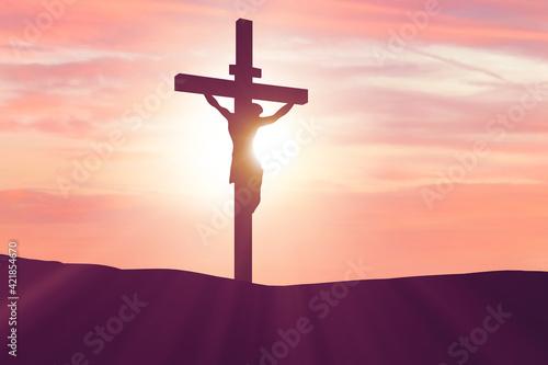 Fototapeta Religious concept with cross against sky obraz