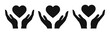 Heart in hand icon vector set