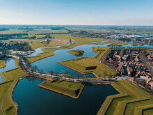 Aerial Drone View Of The Historical Fortress Village Of The Heusden, The Netherlands
