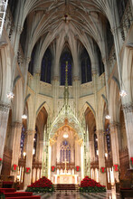 Vertical Shot Of Historical St. Patrick's Cathedral Interior Details In New York, USA