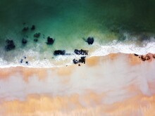 Close-up Of Sea Waves Top Down Drone View.