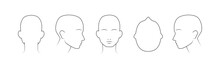 Head Guidelines For Barbershop, Haircut Salon, Fashion. Lined Human Head In Different Angles Isolated On White Background. Set Of Human Head Icons. Vector Illustration