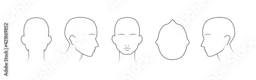 Head guidelines for barbershop, haircut salon, fashion. Lined human head in different angles isolated on white background. Set of human head icons. Vector illustration - fototapety na wymiar