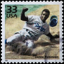 Jackie Robinson In Action On American Postage Stamp
