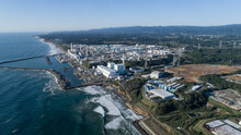 Aerial View From North Of Fukushima Daiichi Nuclear Power Plant.