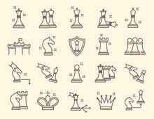 Large Set Of Line Drawn Simple Chess Icons