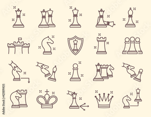 Fotografiet Large set of line drawn simple chess icons
