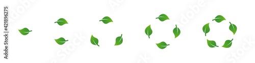 Obraz na plátně Green leaves recycling icons set