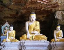 Höhle Mit Buddha- Figuren In Hpa An, Burma