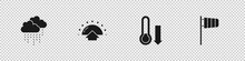 Set Cloud With Rain, Sunrise, Meteorology Thermometer And Cone Windsock Wind Vane Icon. Vector