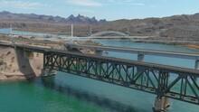 Topock Railroad Bridge And Interstate 40 Bridge Crossing The Colorado River