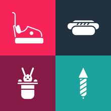 Set Pop Art Firework Rocket, Magician Hat And Rabbit, Hotdog And Bumper Car Icon. Vector