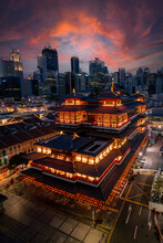 City Skyline And Buddha Tooth Relic Temple Illuminated For Chinese New Year, Singapore