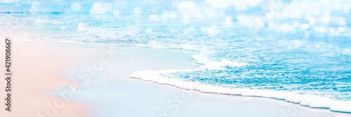 Gentle Wave On Sandy Tropical Seashore - Beach Vacation Background Wallpaper Mural