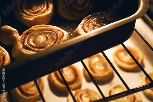 Fototapeta High Angle View Of Pastries In Oven