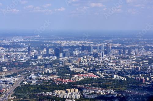 Warszawa, panorama na miasto z lotu ptaka, stolica Polski,  #421923655