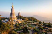 Doi Inthanon Twin Pagodas At Inthanon Mountain Near Chiang Mai, Thailand.