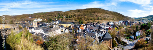 Panorama view to the city Bad Münstereifel. Bad Münstereifel is a historical spa town in the district of Euskirchen, Germany - fototapety na wymiar