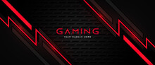 Futuristic Black And Red Gaming Banner Design Template With Metal Technology Concept. Vector Illustration For Business Corporate Promotion, Game Header Social Media, Live Streaming Background
