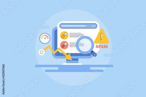 Website analysis, website link profile, spam link detection software checking, poor search engine ranking and high bounce rate, comment spam concept. Outline style web banner.