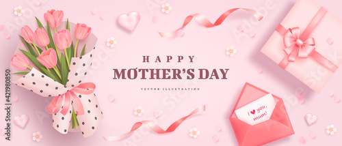 Mother's day poster or banner with realistic hearts, bouquet of tulips, pink envelope and gift box on pink background