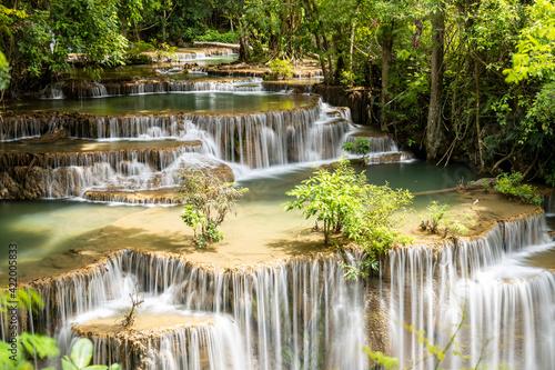 Fototapeta Landscape Huai Mae Kamin waterfall Srinakarin at Kanchanaburi, Thailand. obraz