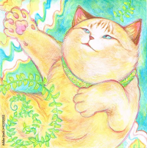 Fototapety, obrazy: 寝っ転がっている猫のイメージイラスト