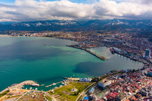 Batumi, Georgia - February 15, 2021: View Of The Seaport From A Drone