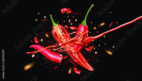 Fotografie, Obraz Red chili pepper with chili saucen packaging mock up splashing elements isolated on dark color background, Vector realistic in 3D illustration