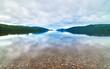 canvas print picture - Loch Ness bewölkt mit Spiegelung, See