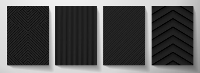 Modern blank black background design set. Creative dynamic line pattern (geometric stripe ornament) in monochrome. Abstract graphic vector background for cover notebook,vertical business page template