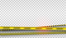 Black And Yellow Stripes Set. Warning Tapes. Danger Signs. Caution ,Barricade Tape, Do Not Cross, Police, Scene Barrier Tape. Flat Style Cartoon Illustration Isolated On Transparent Background