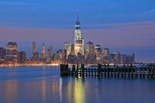 Lower Mahattan And One World Trade Center Or Freedom Tower In New York City, New York.is The Primary Building Of The New World Trade Center Complex