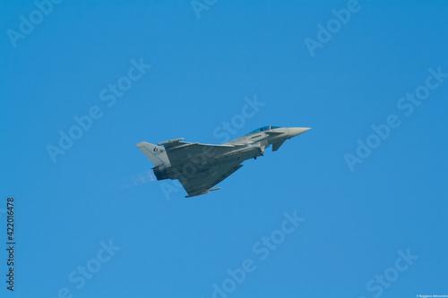 Fotografie, Tablou Militar jet Eurofighter Typhoon flying at an airshow