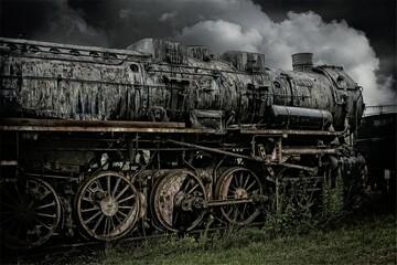 Fototapeta na wymiar old locomotive in sepia