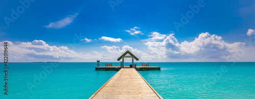 Fototapeta Tropical pier to paradise island beach. Amazing ocean lagoon, sea horizon under blue sky. Idyllic, meditation, inspiration scenery. Wellbeing, relaxation, positive thinking. Travel, summer wellness obraz