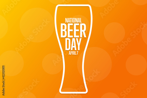 Fototapeta National Beer Day. April 7. Holiday concept. Template for background, banner, card, poster with text inscription. Vector EPS10 illustration. obraz