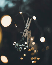 Close-up Of Clothespin And Wild Flowers Surrounded By Bokeh Lights