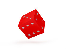 Red Dice Close-up On White. 3d Illustration