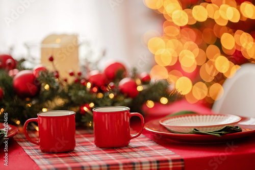 Fototapeta Illuminated Christmas Tree On Table obraz