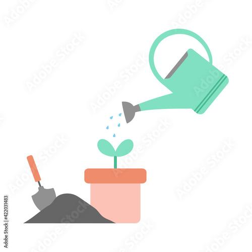 Obraz na płótnie gardening concept watering plant, flat design, vector illustration