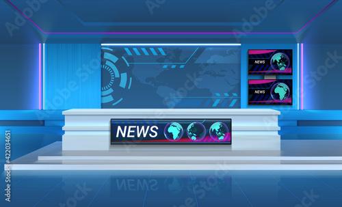 Fotografia, Obraz Studio for recording TV breaking news