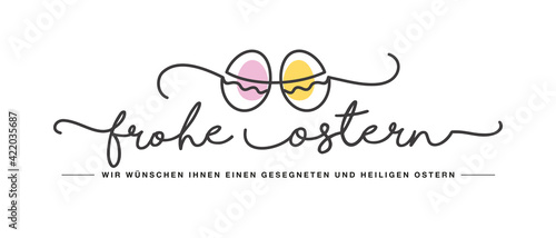 Fototapeta Happy Easter handwritten typography lettering we wish you a holy and blessed Easter on German language line design color eggs spring white greeting card sticker label obraz
