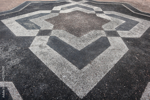 Fotografiet simetric pattern or texture at stone floor for use background poster