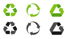 Set Of Recycling Signs, Arrow Icons Isolated On White. Recycling Environmental Symbols. Recycling Sign. Vector Illustration